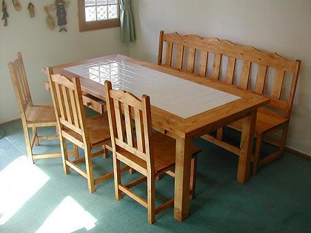 カントリー ダイニングテーブル 6人用 ホワイトタイル