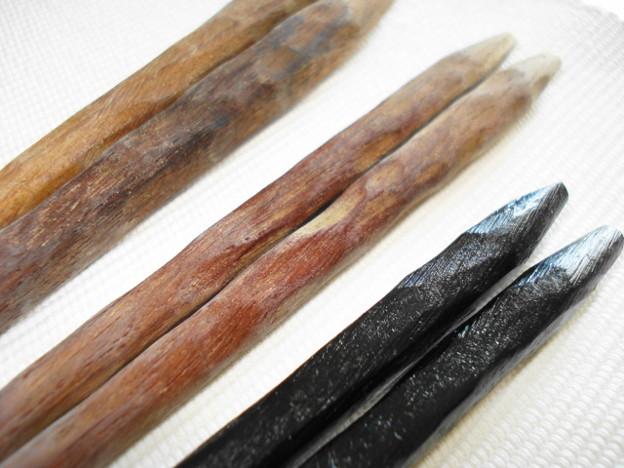 拭き漆 削出し黒檀箸 比較