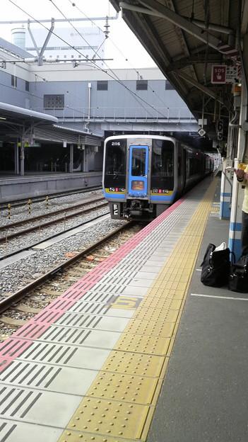 岡山駅で。