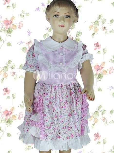 ピンクとローズ 子供用 ロリータワンピース 花柄 コットン
