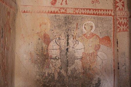 2011.01.26 トルコ カッパドキア ギョレメ野外博物館 バルバラ・キリセの壁画-聖ゲオルギウスと聖テオドーラ