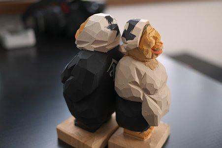2011.05.09 箱根宮ノ下 木端人形(大工とおばさん)-背中合わせ 松澤登美雄
