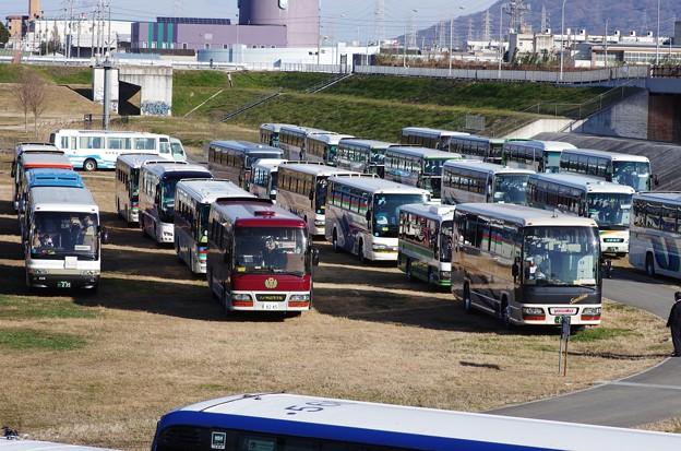 観光バスが50台ほど1