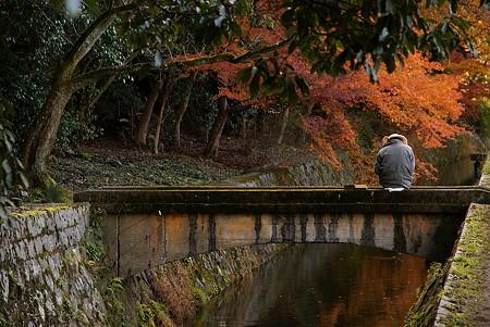 秋の小川と絵描き