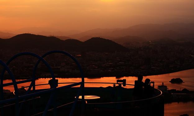 五台山展望台からの夕焼け